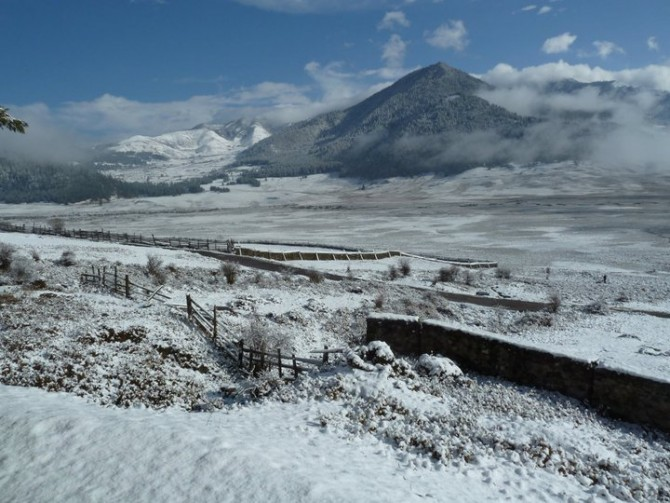Snowy view of Bhutan